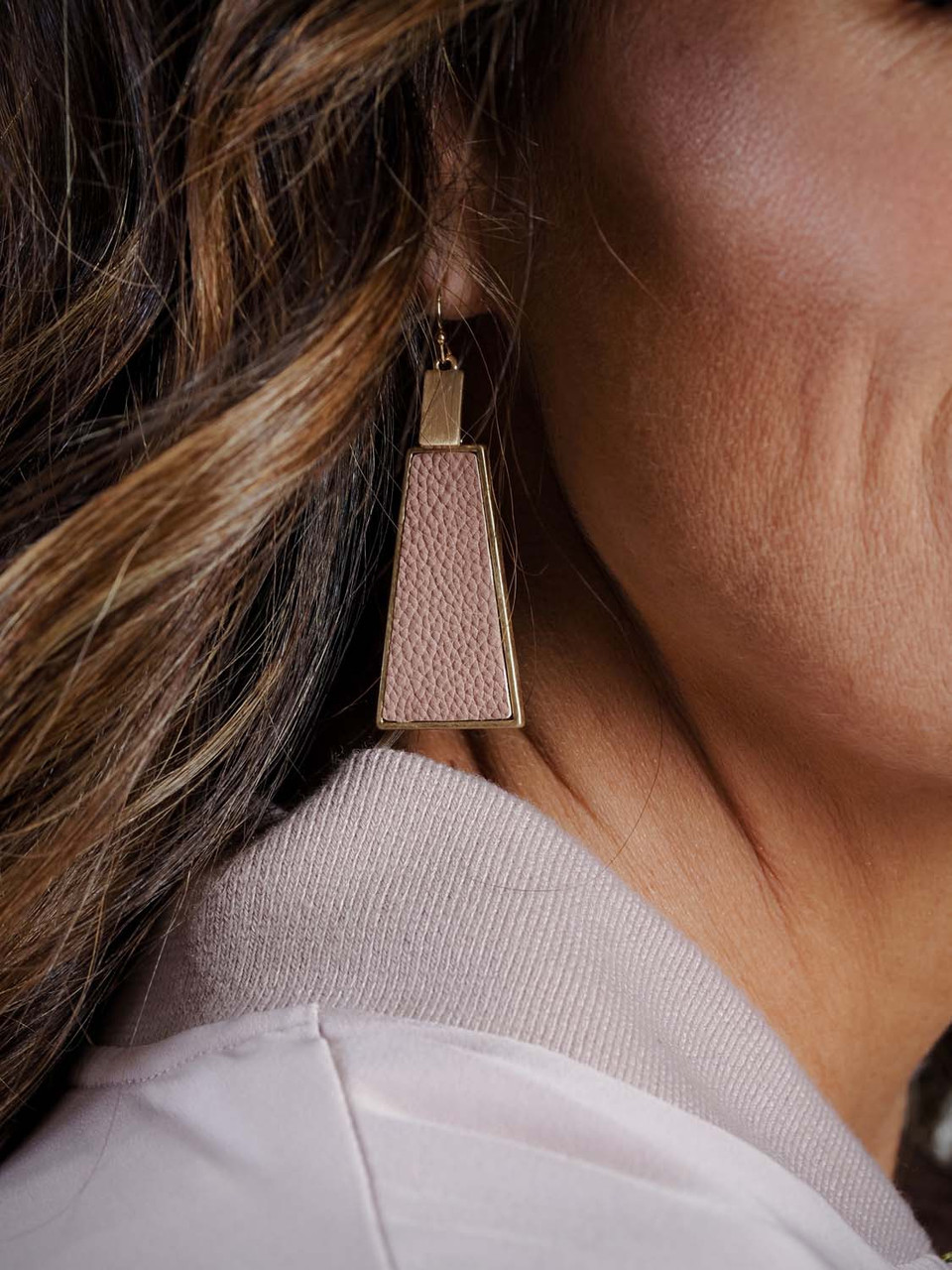 """2"""" drop earring with blush and gold detail"""