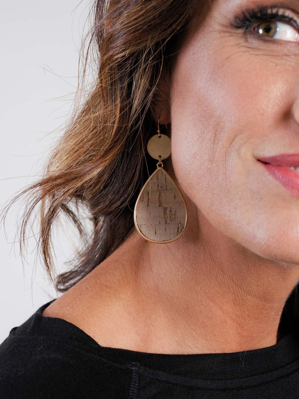natural cork teardrop earring