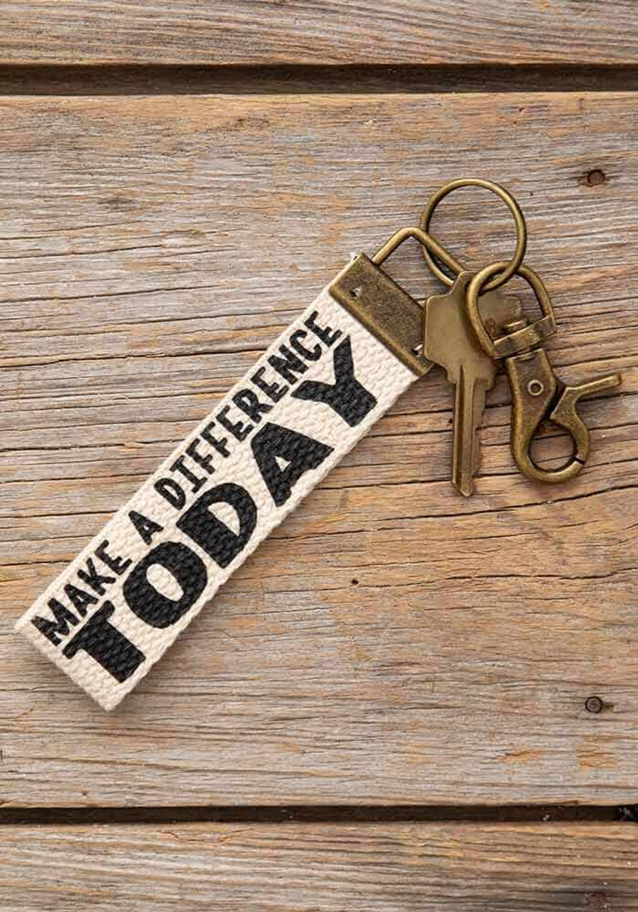 Make a Difference Today Canvas Key Fob