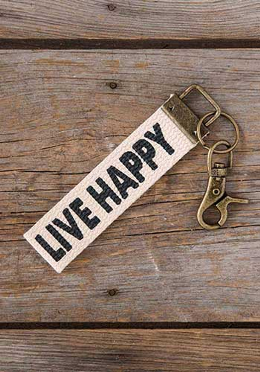 Live Happy Canvas Key Fob