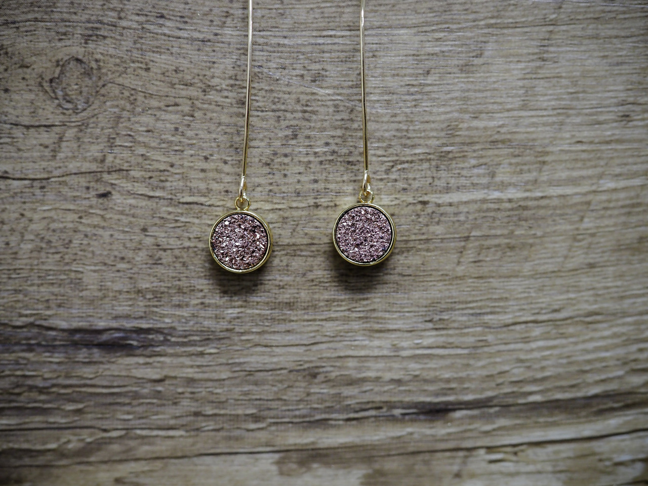 Wire Druzy Drop Earring