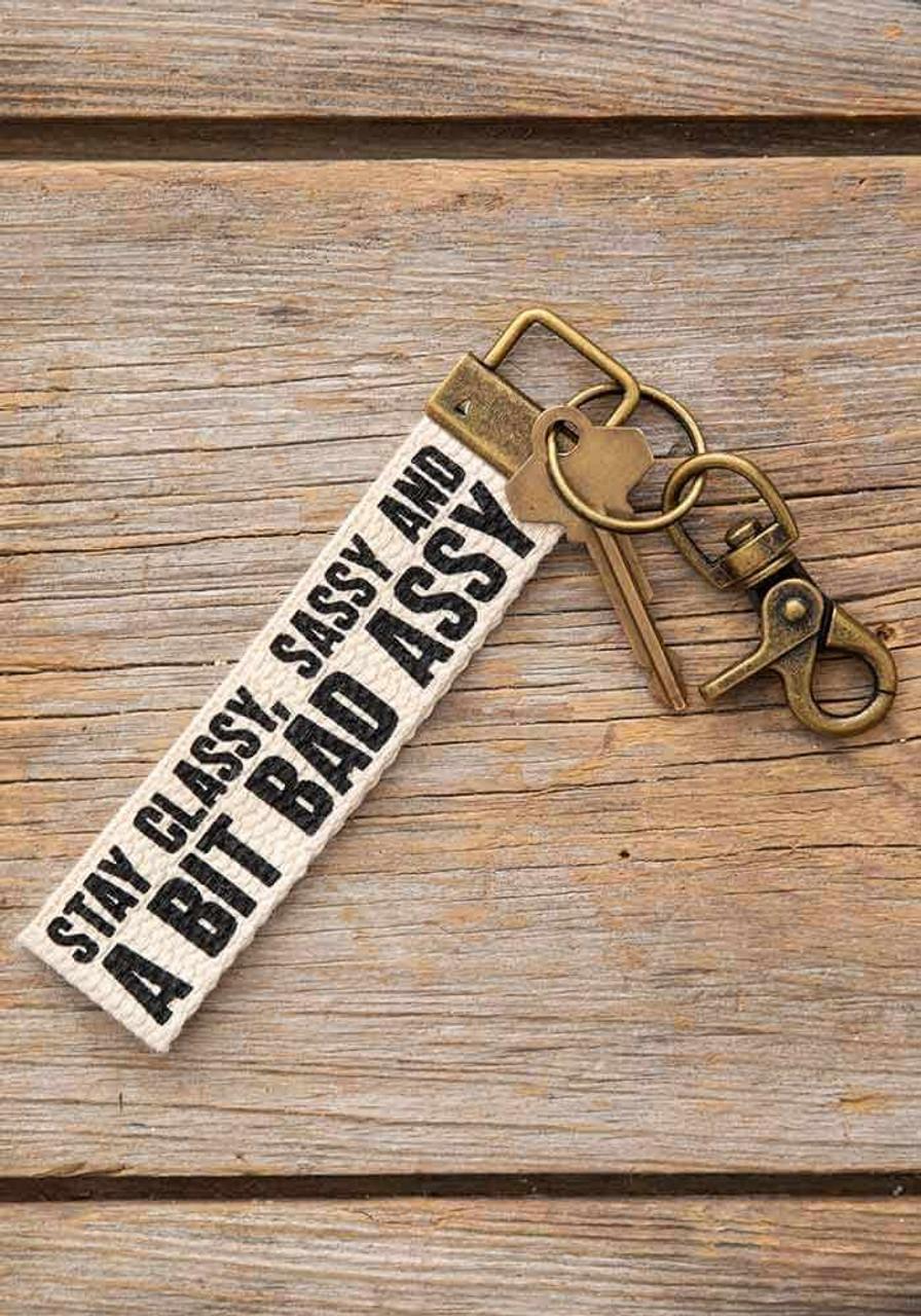 Stay Classy Sassy Canvas Key Fob
