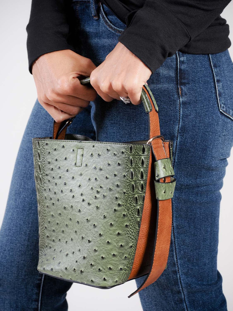 bucket bag faux crocodile  mini sage