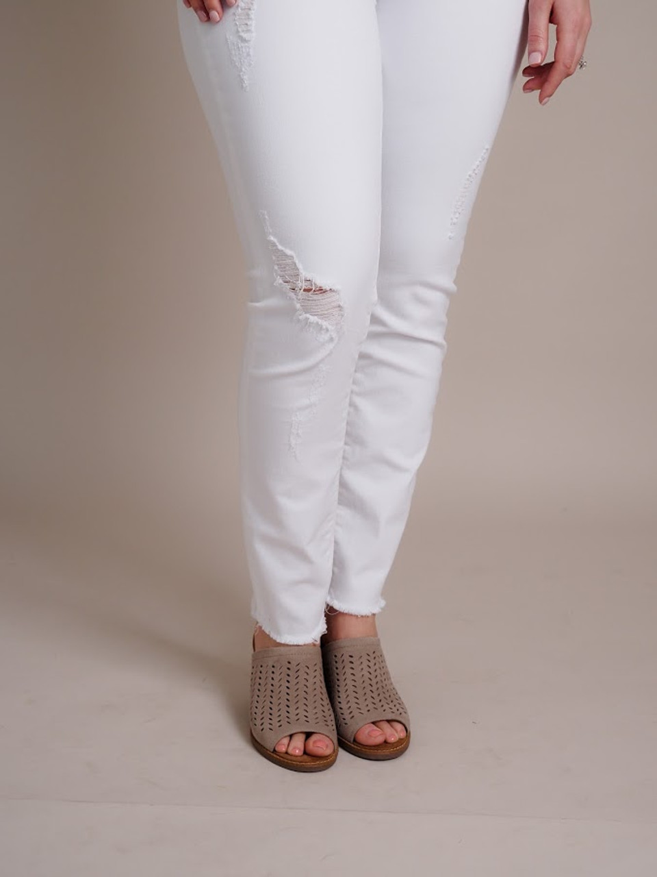 Carly Crop White Denim