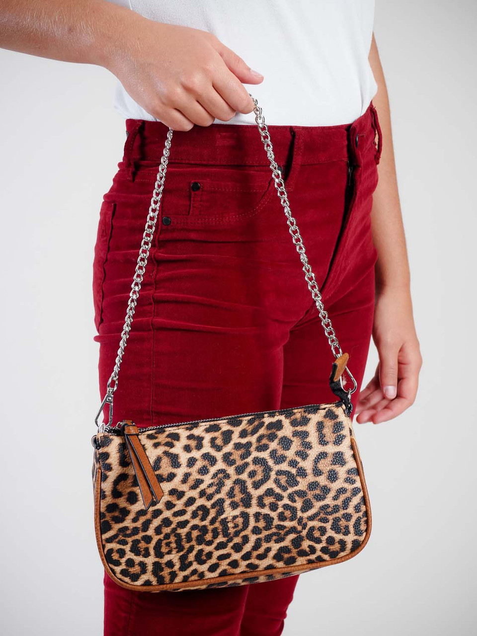 leopard print crossbody attachable coin purse