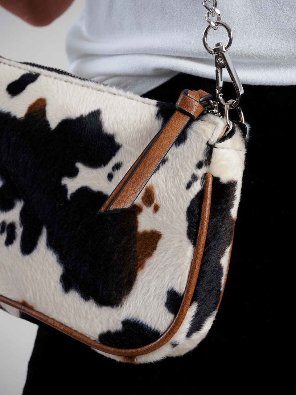 cow print crossbody with detachable coin purse