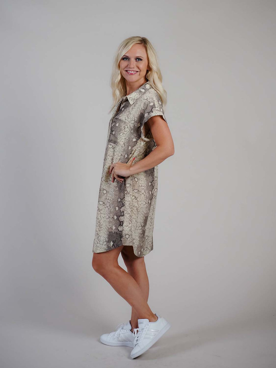snakeprint dress with collar
