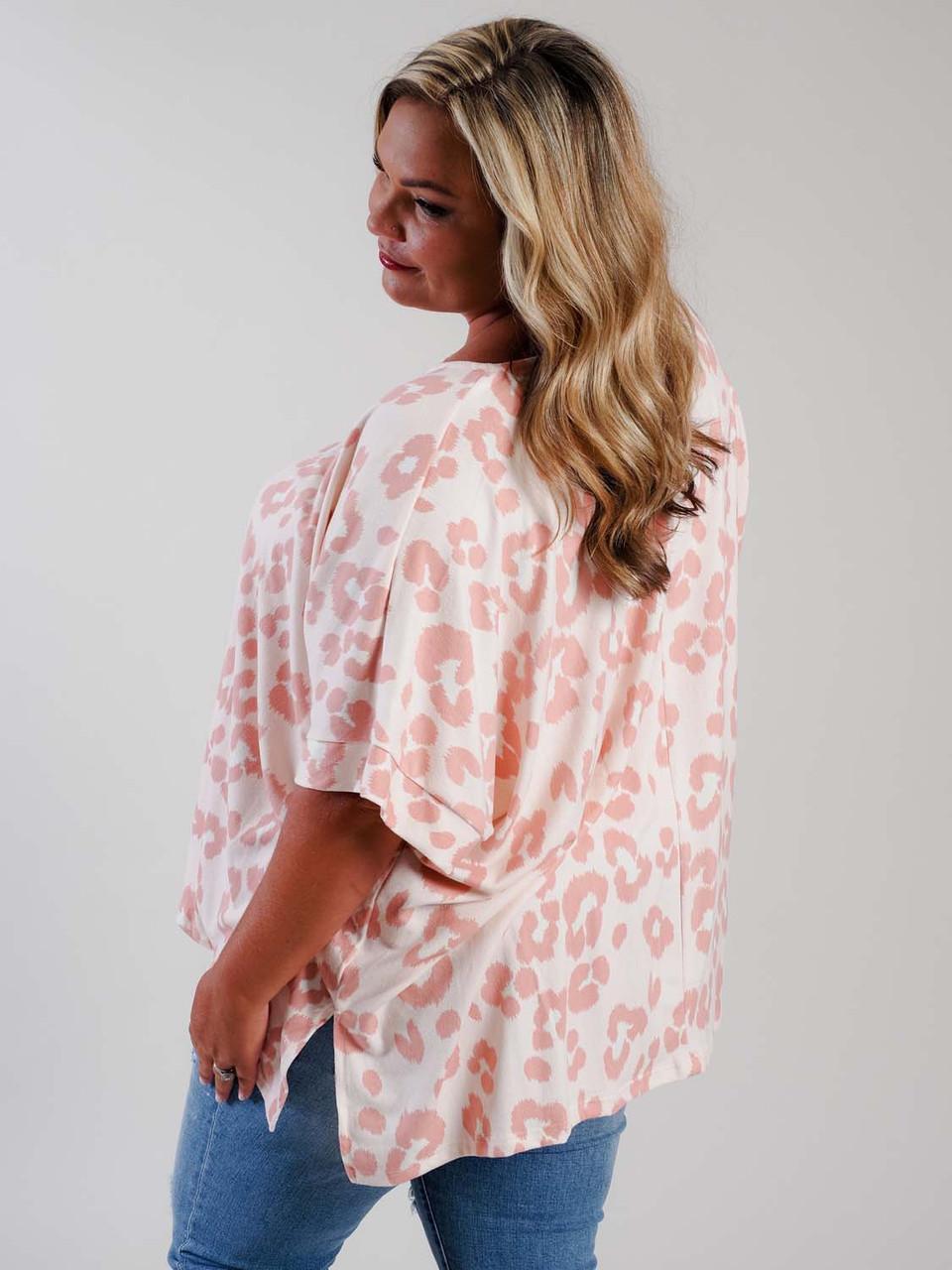pink leopard print poncho plus clothing curvy