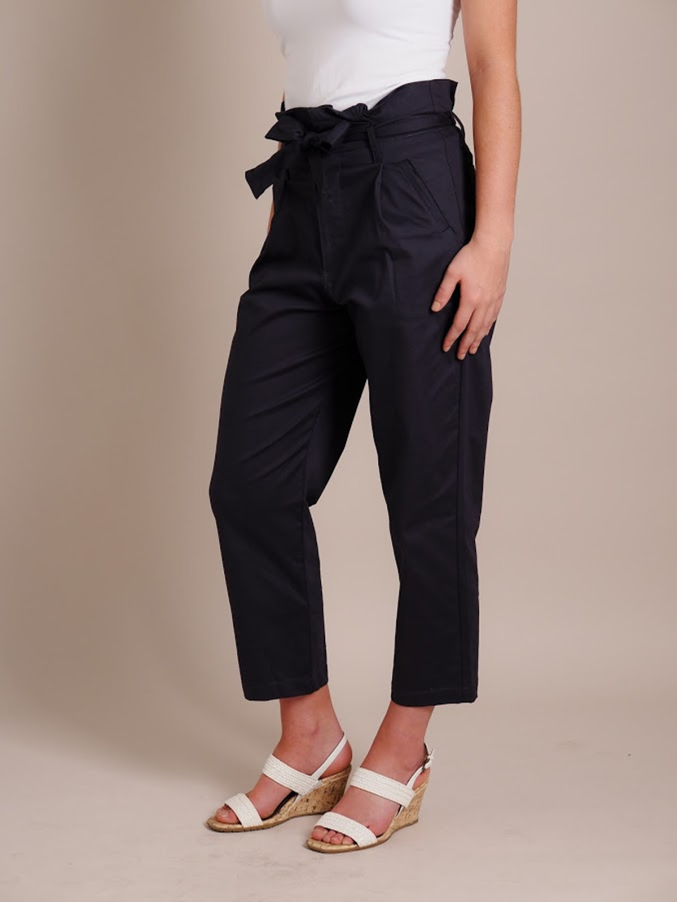 High-Waisted Navy Cotton Pants
