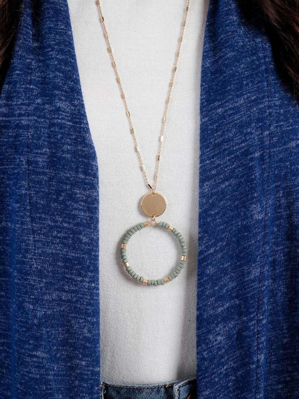 gold necklace with sage bead circle