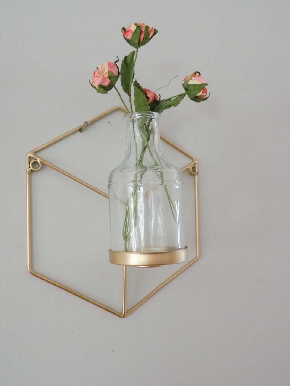 gold geometric wall hanging bud vase