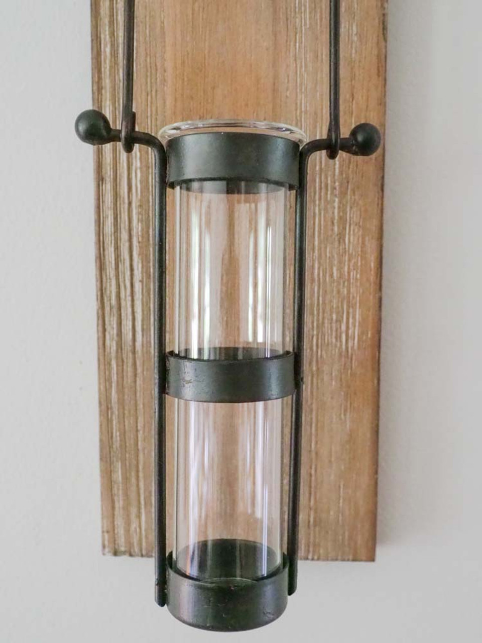 wall hanging bud vase with wooden base