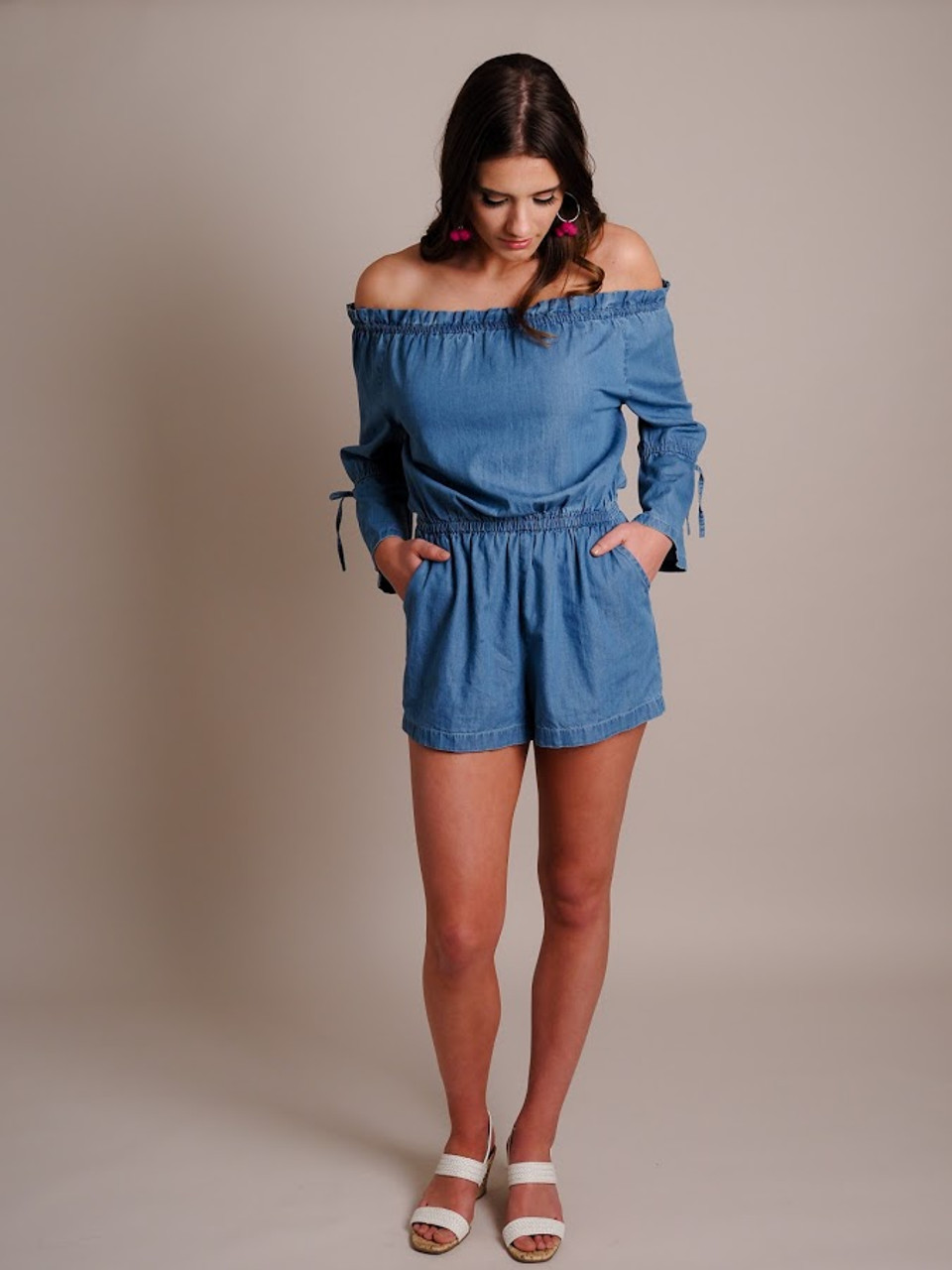 Off-The-Shoulder Bell Sleeve Chambray Romper