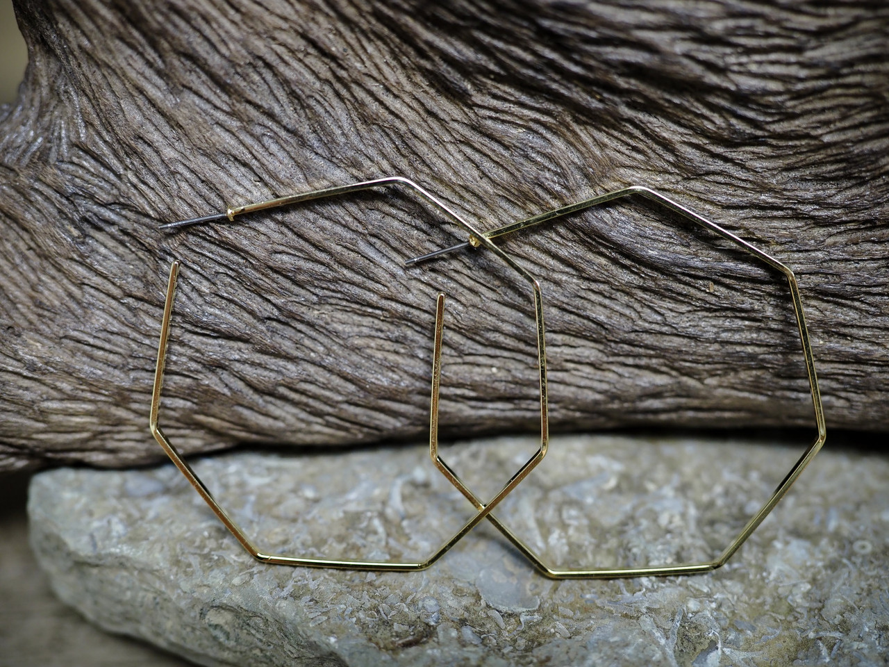 Thin Octagon Hoop Earring