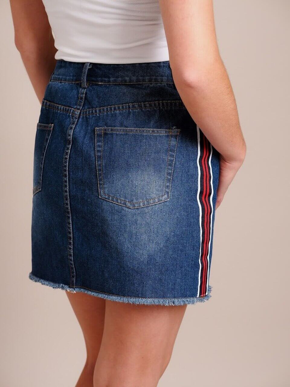 Denim Skirt With Stripe