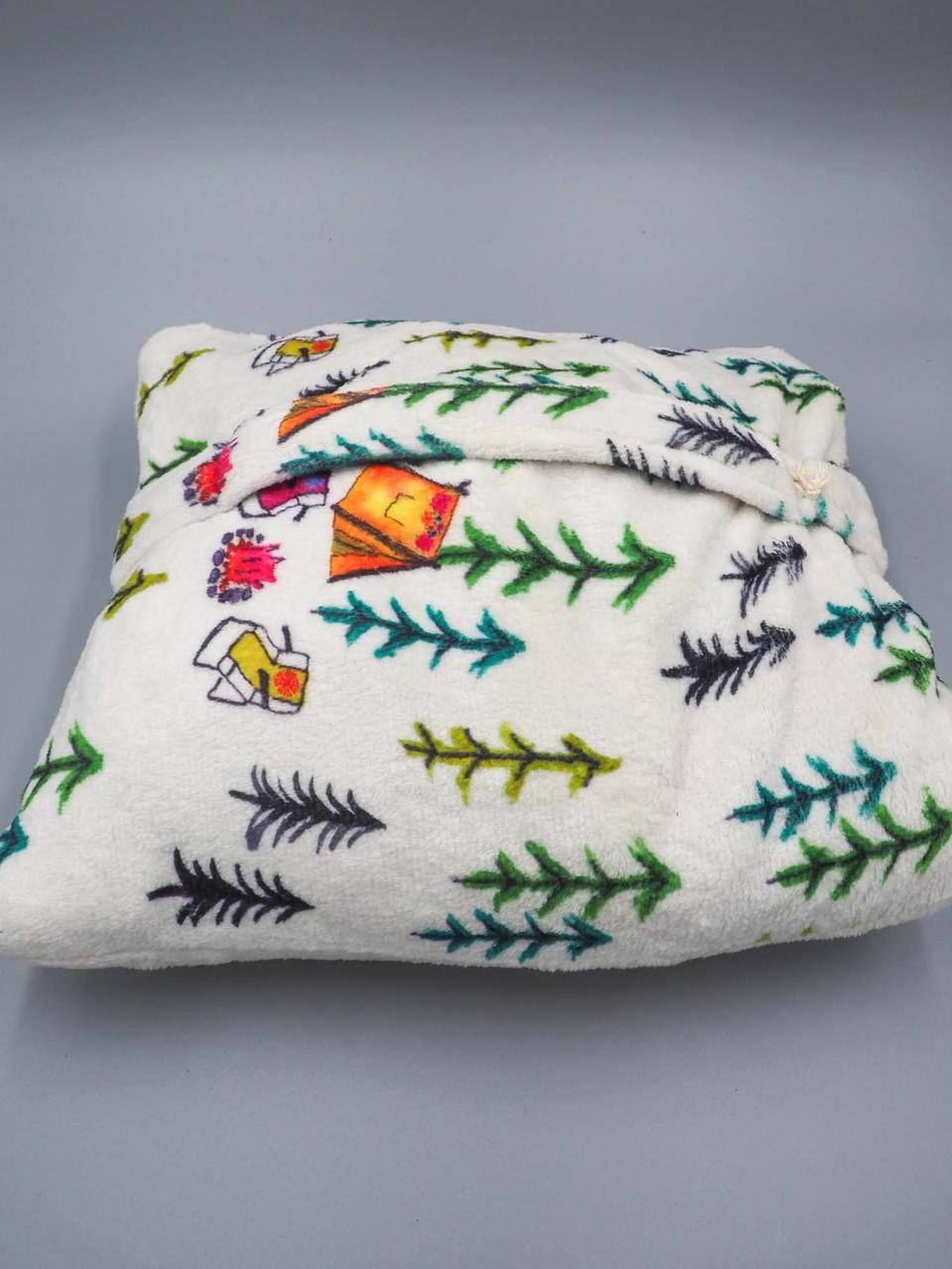 happy camper pillow blanket natural life