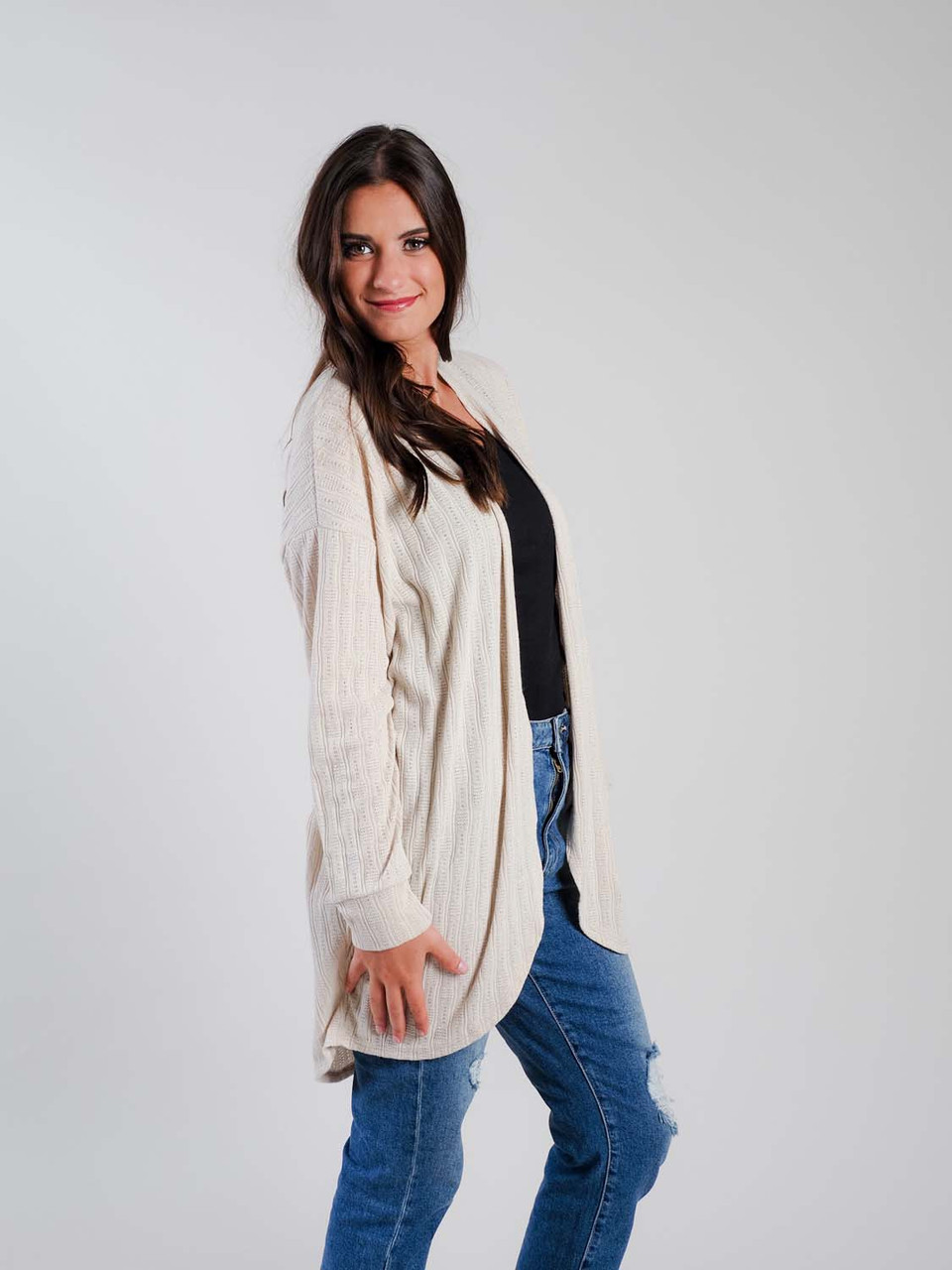 taupe lightweight cardigan staccato