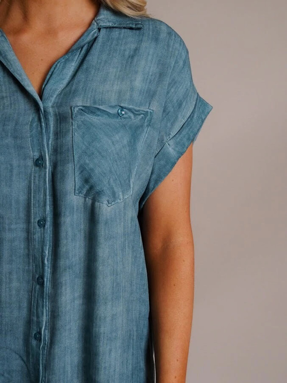 Button Down Dress with Frayed Hem