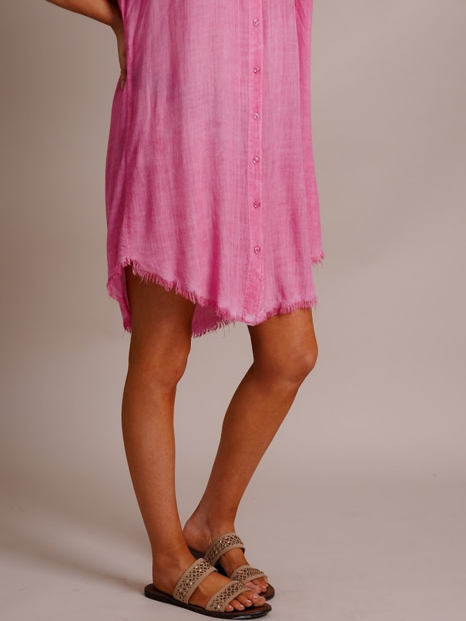 Button Down Dress with Frayed Hem