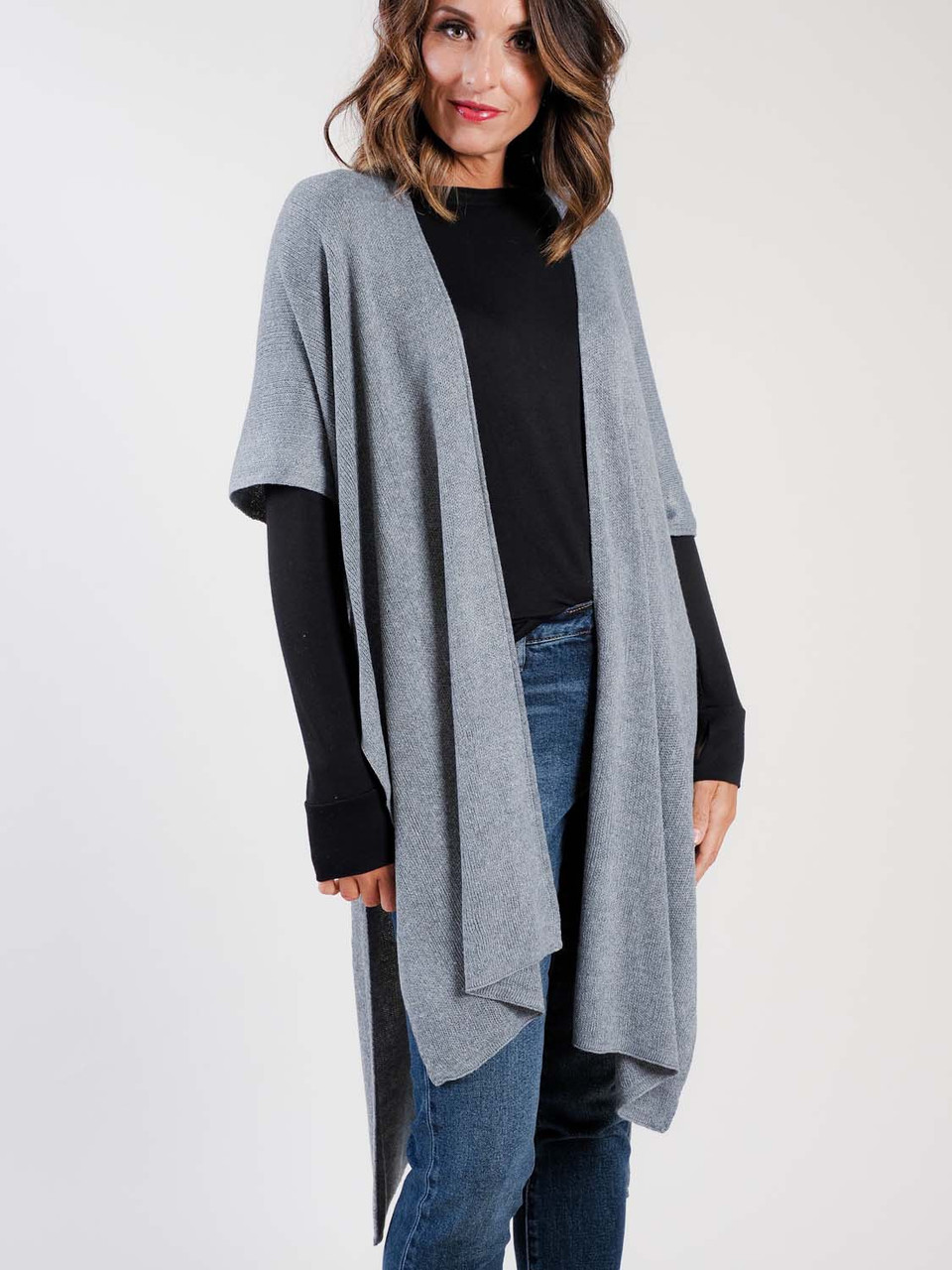 recycled knit duster in gray demdaco