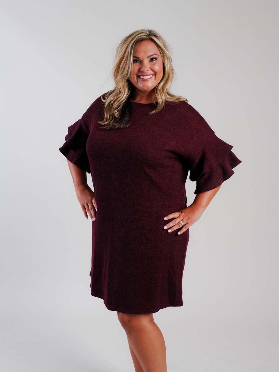 wine knit dress curvy plus size