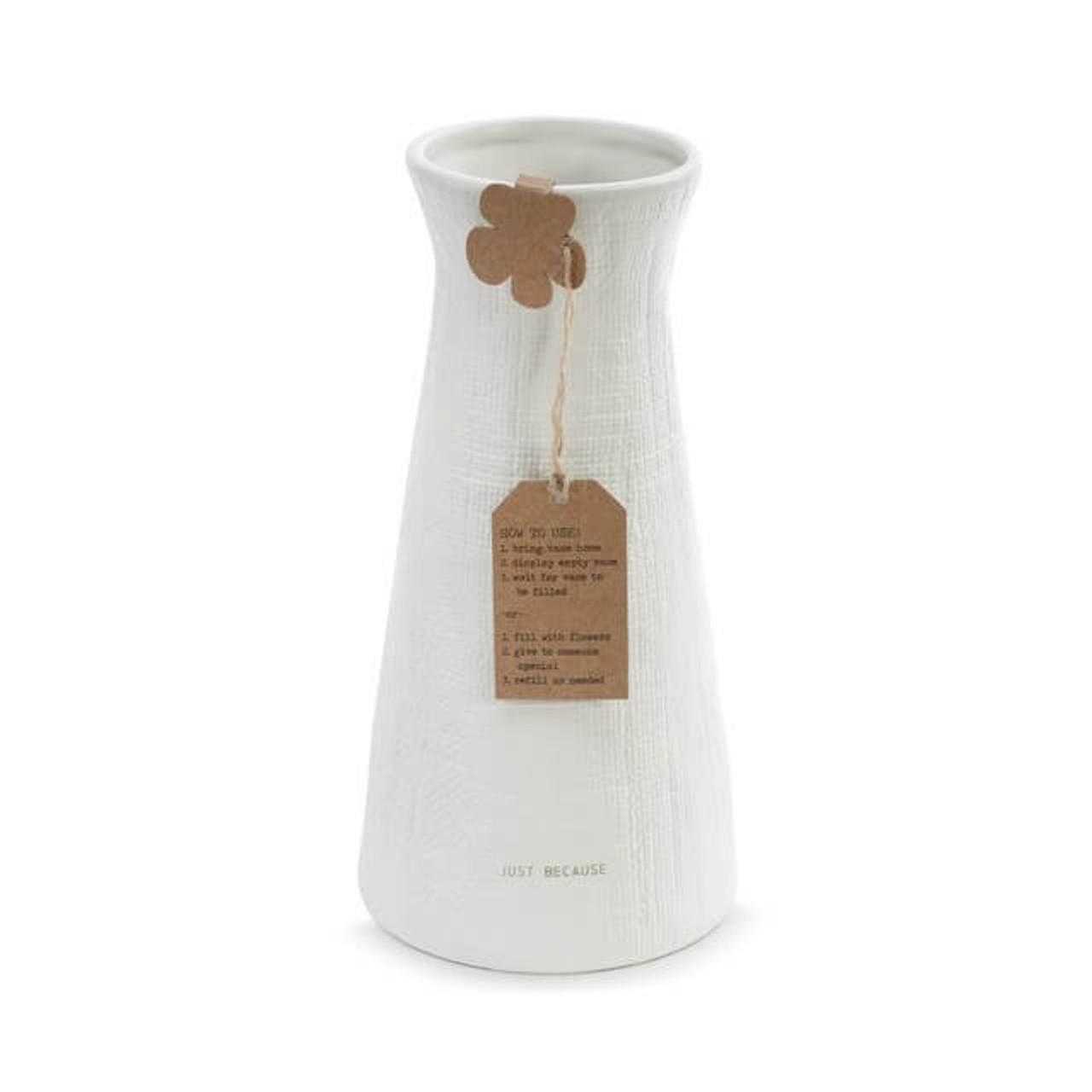 Linen Texture Just Because Vase Demdaco
