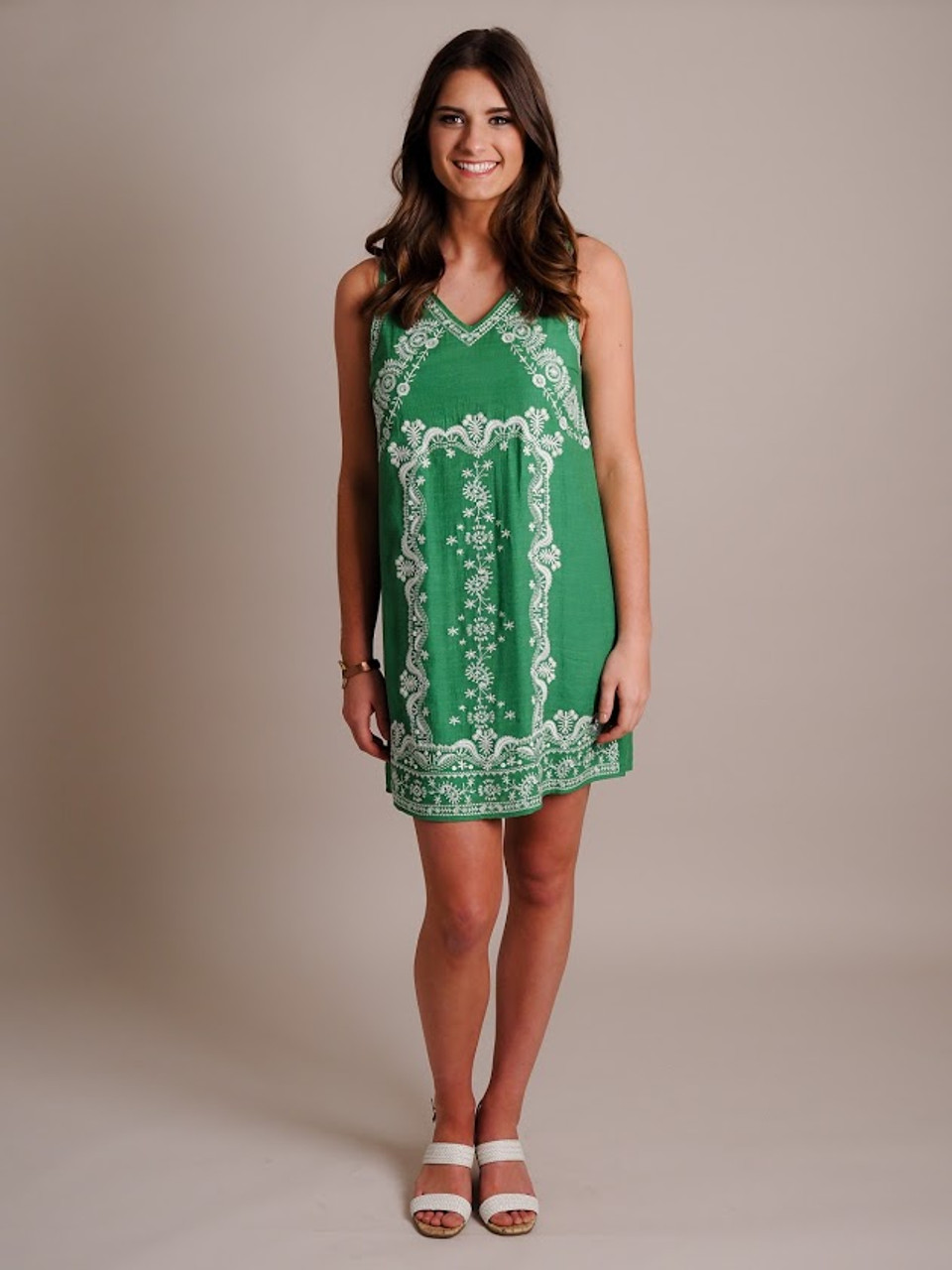 Green Embroidered Shift Dress
