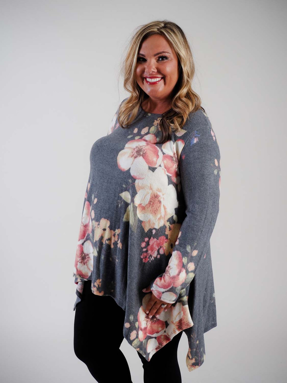 oddi Plus clothing curvy clothing fleece top with asymmetrical hem floral pattern charcoal grey