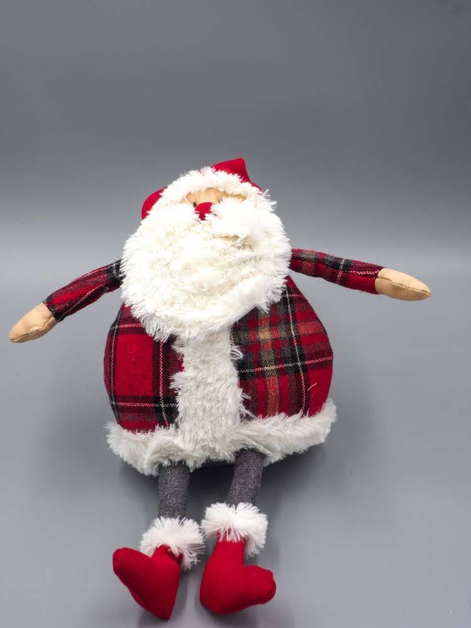 "11""H Plush Santa in Red Plaid"
