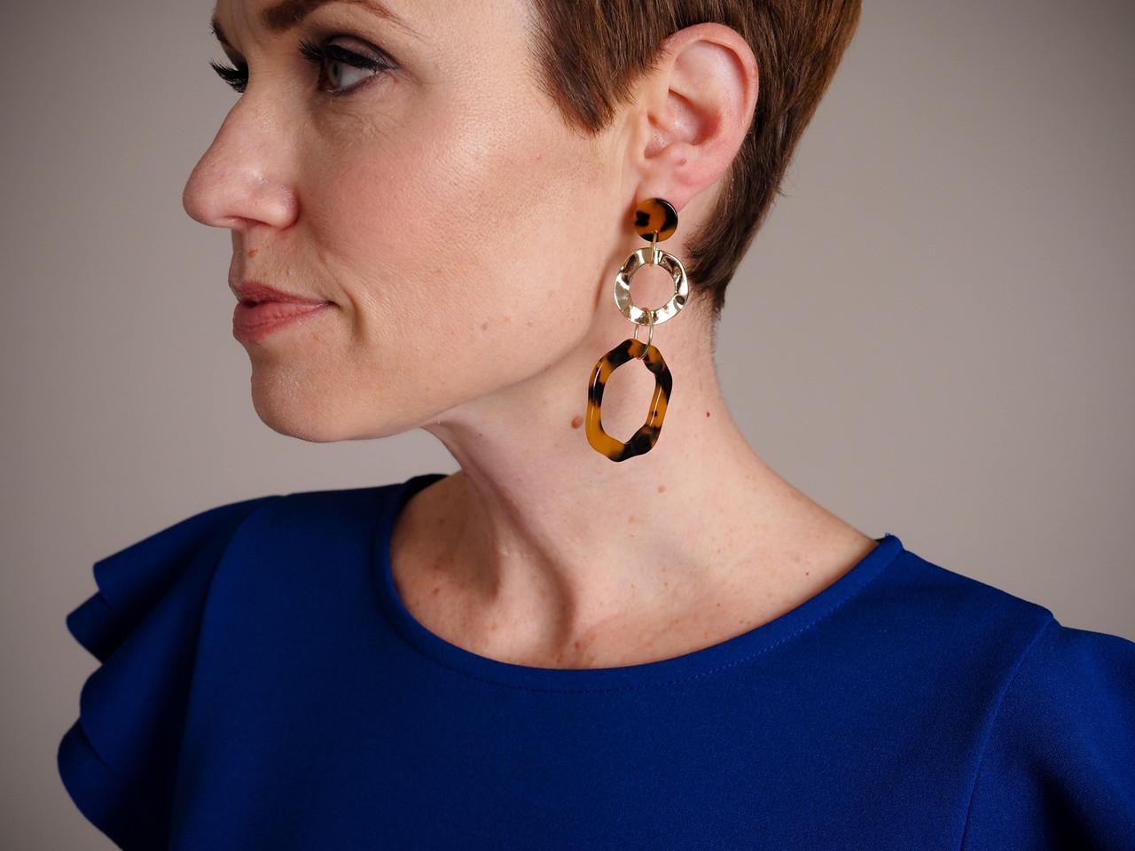Enamel Link Earrings