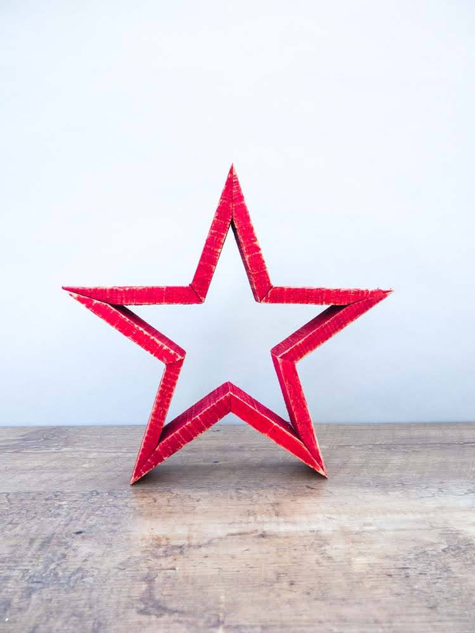 "11-3/4""H Oak Wood Star in Red"