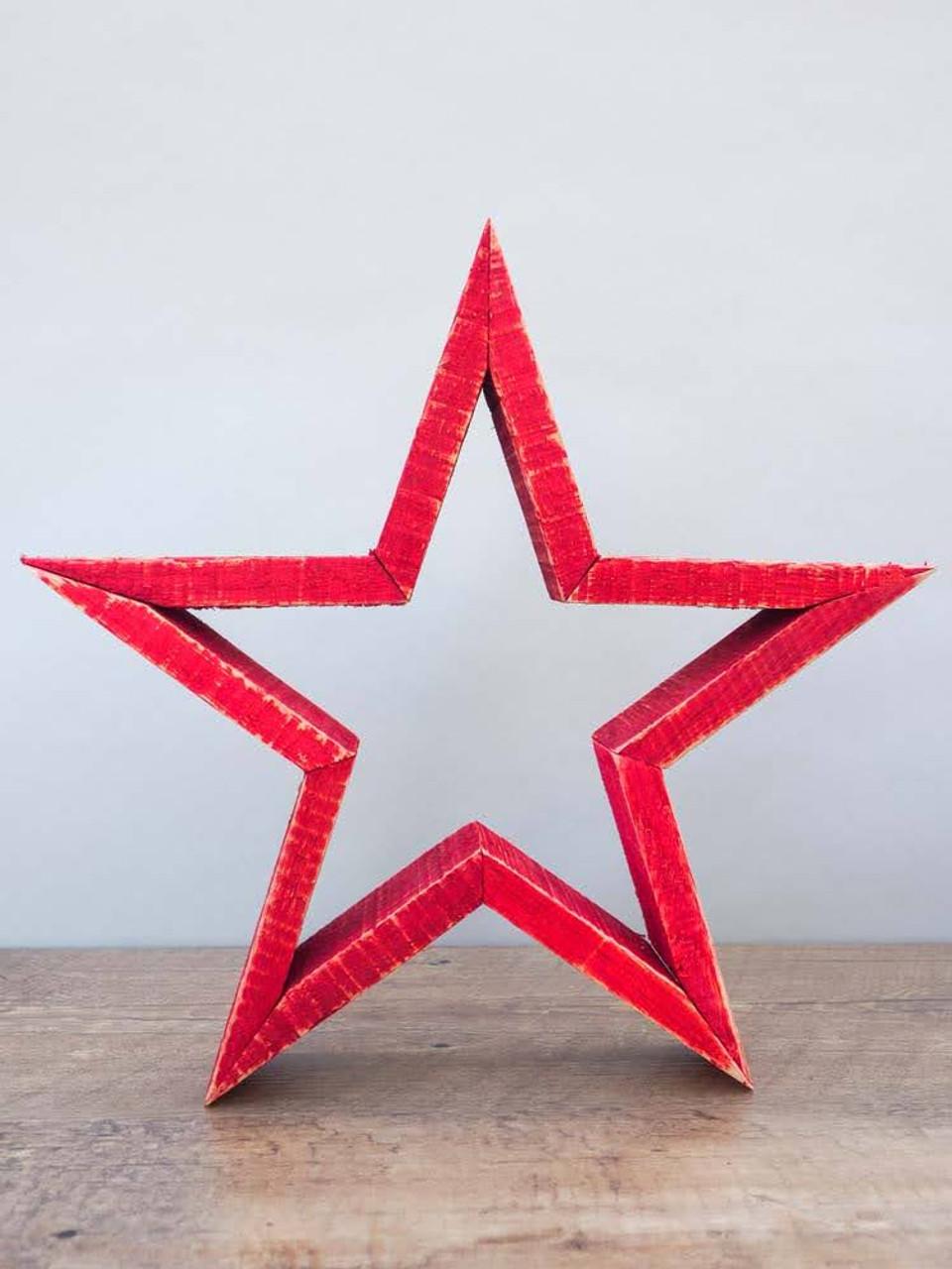 "11-3/4""H Oak Wood Star in Red"