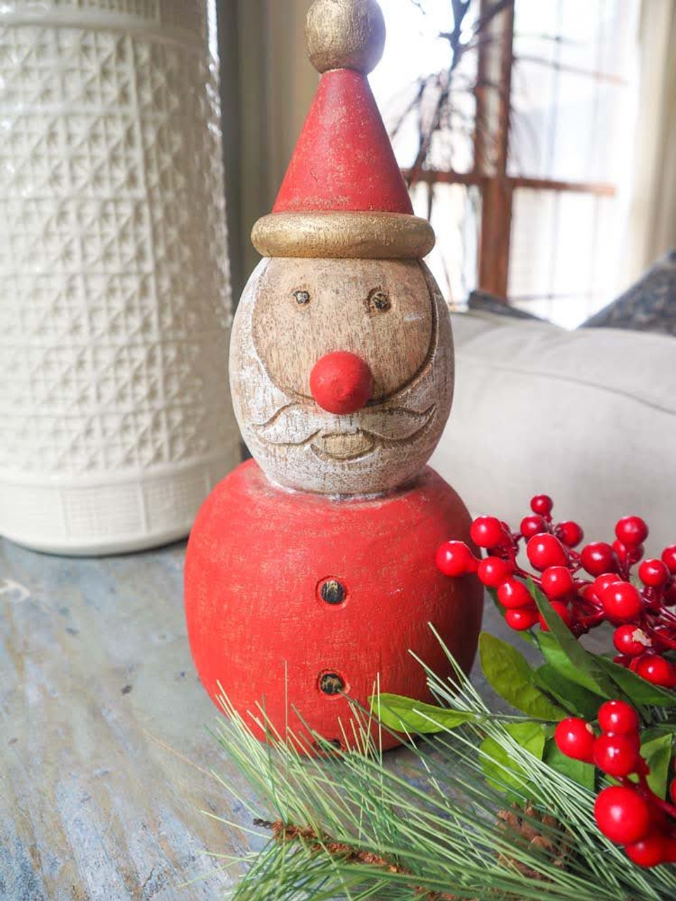 Carved Wood Round Santa