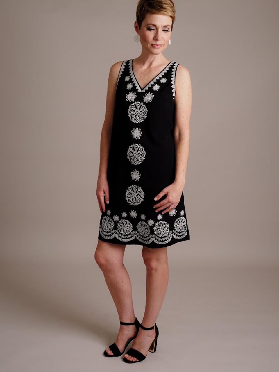Black Embroidered Shift Dress