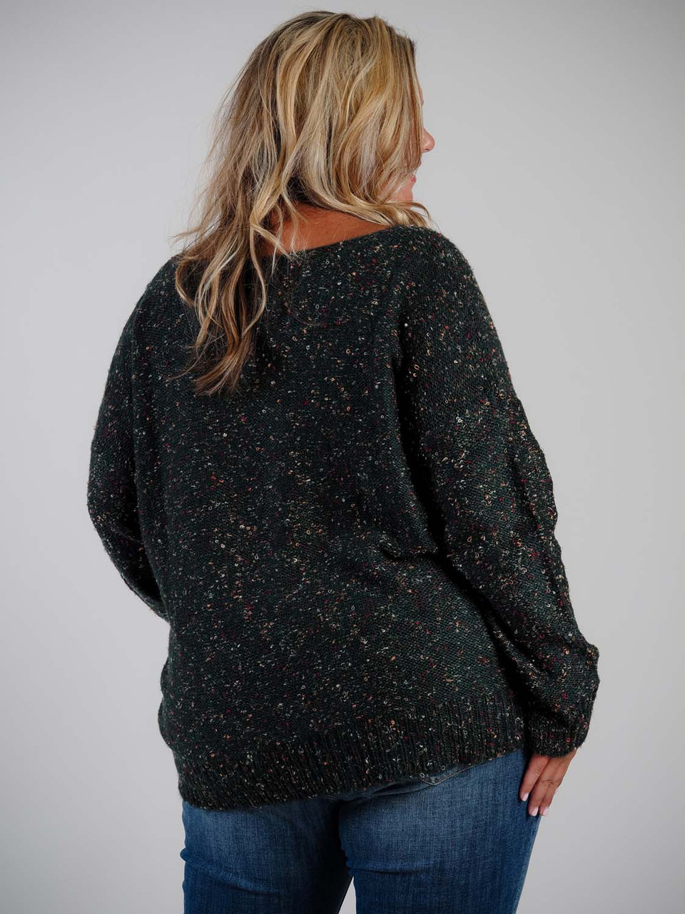 Green multicolor confetti sweater Molly Bracken