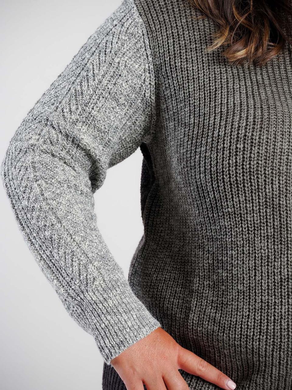 Green grey brown color block turtleneck sweater