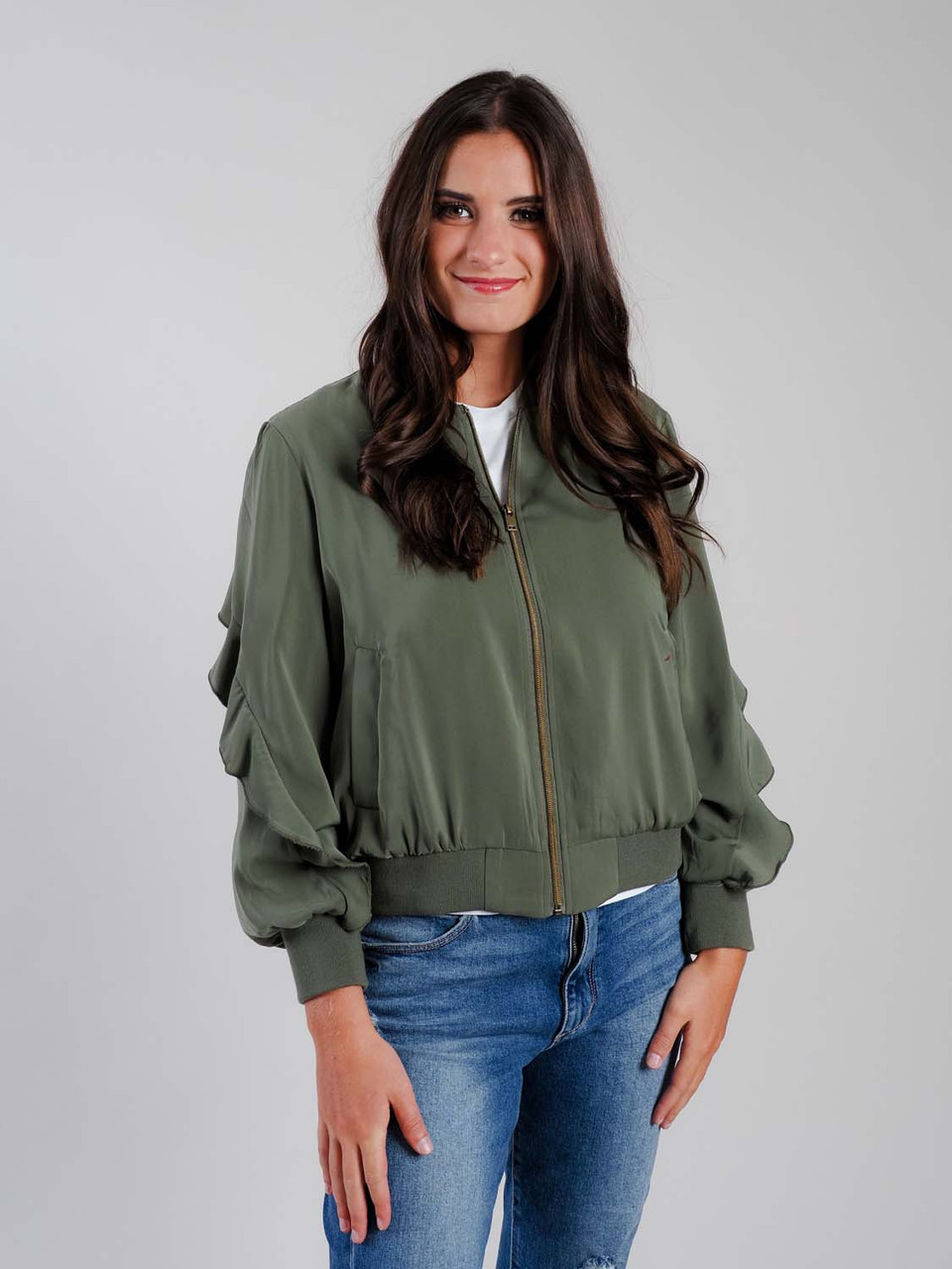 olive bomber jacket with ruffle detail mudpie