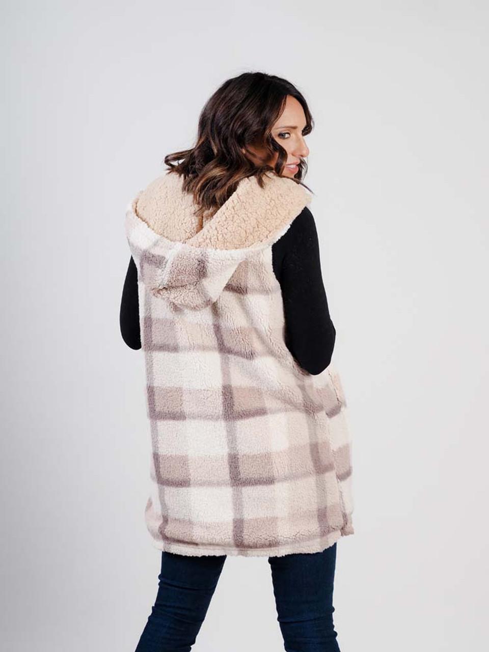 faux fur sherpa long vest reversable