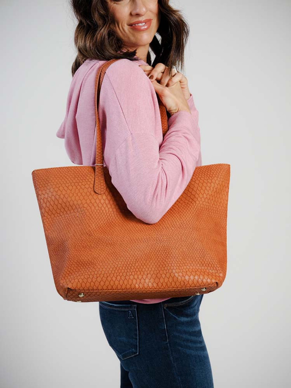 faux crocodile tote klutch