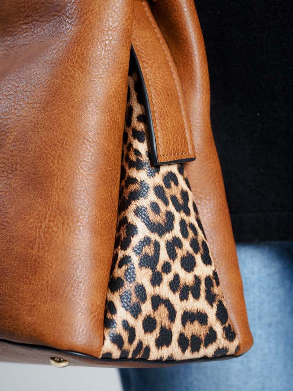 jen and co brown leather leopard print handbag