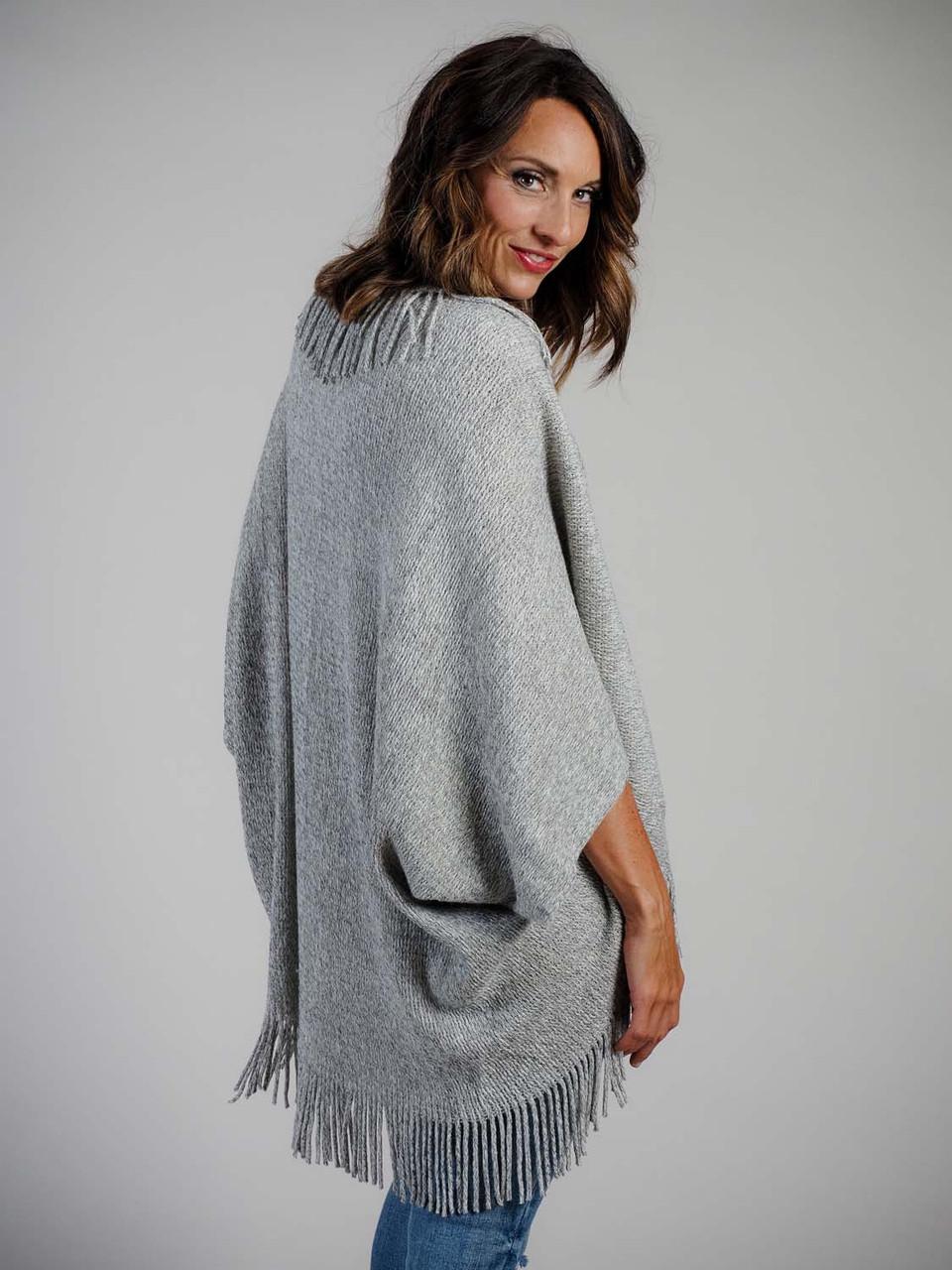 lightweight fringe cardigan grey mudpie