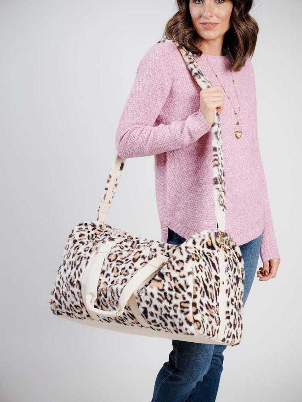 faux fur leopard print weekender bag katydid