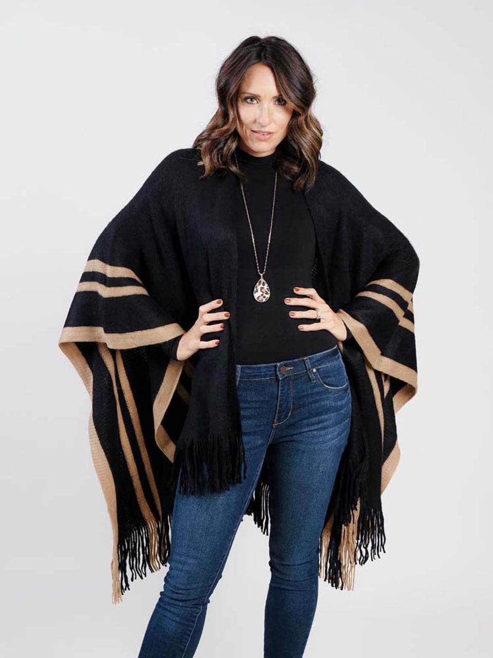 black and brown kimono