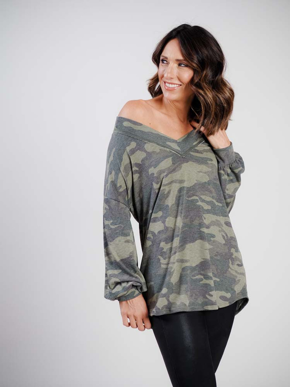 First love camo top with v-neck