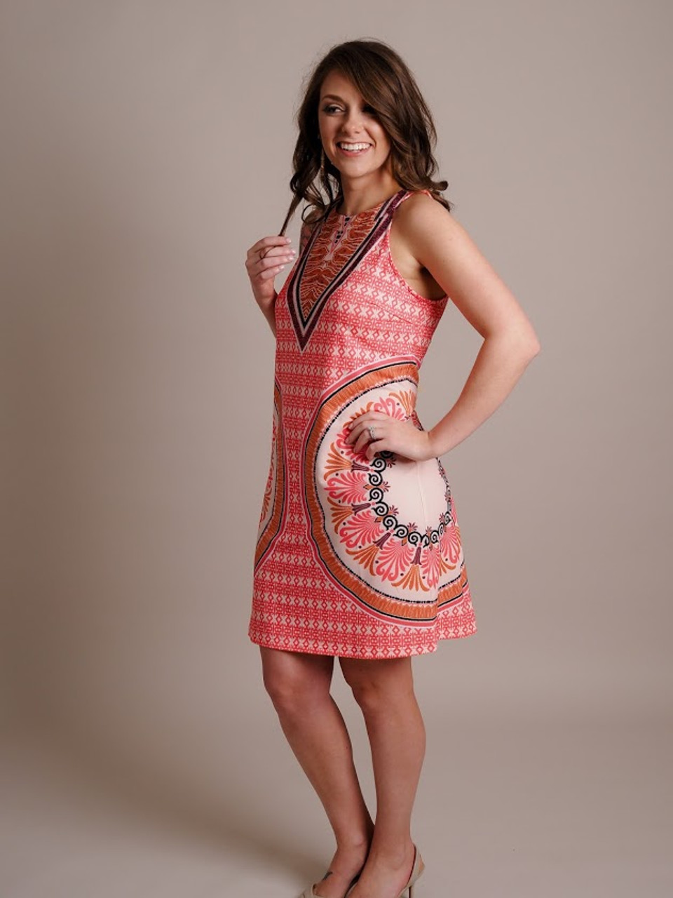 Coral Printed Halter Dress