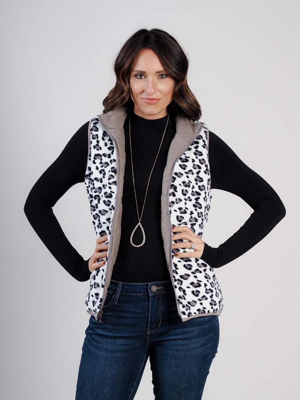 reversable vest in leopard and dark khaki