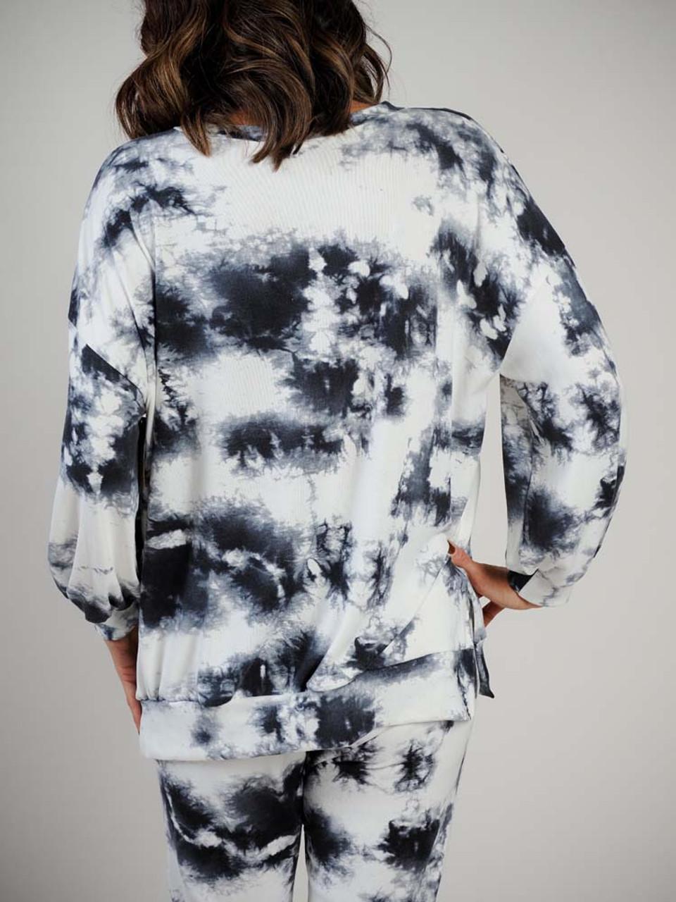 tie dye sweatshirt top black grey and white