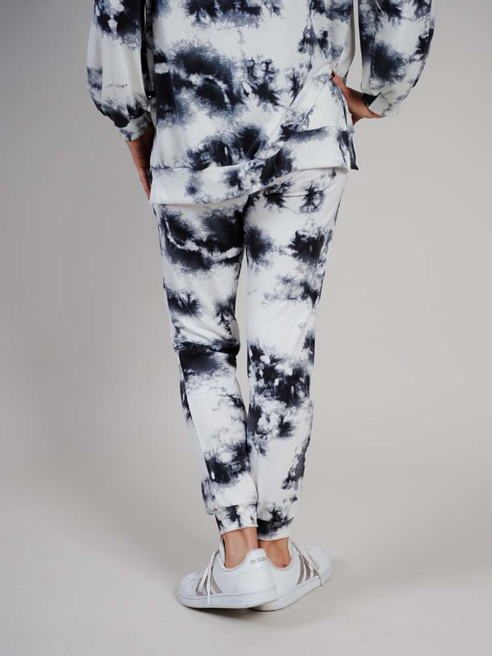 black white and grey tie dye joggers