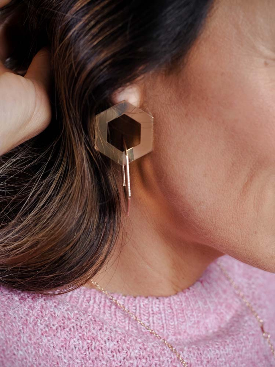 double hexagon gold earring