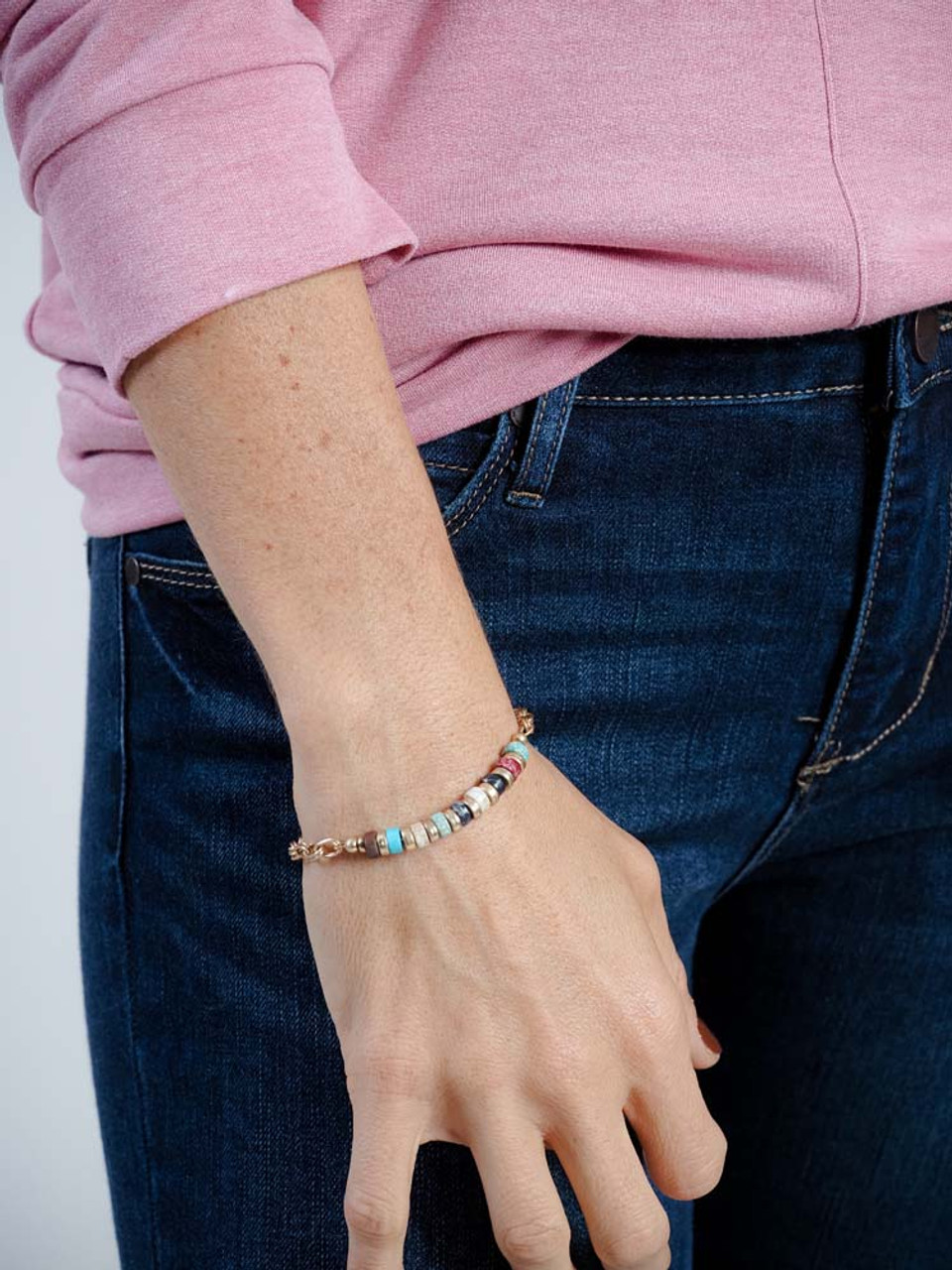 multi  color stone and gold magnetic bracelet